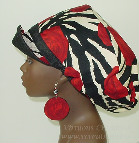 Billed Hat-Denim-Black-Zebra Rose Print with Earrings
