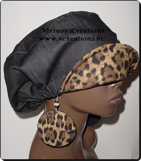 Billed Hat-Denim w-Cheetah Print