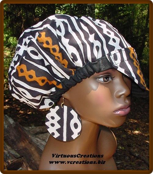 Billed Hat-Black White Rust Mudcloth with Denim