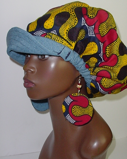 Billed Hat-Denim-African Print-Yellow, Red and Blue with Earrings