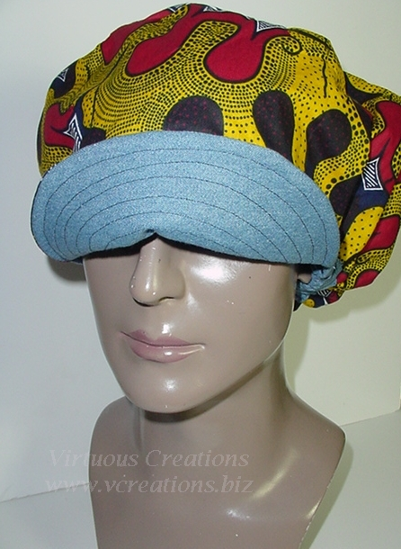 Billed Hat-Denim-African Print-Yellow, Red and Blue