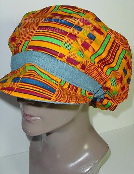 Billed Hat-Denim with African Kente' Print