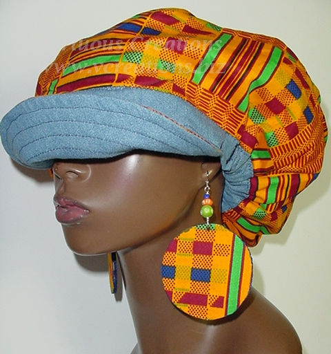 Billed Hat-Denim with African Kente with Coordinating Earrings
