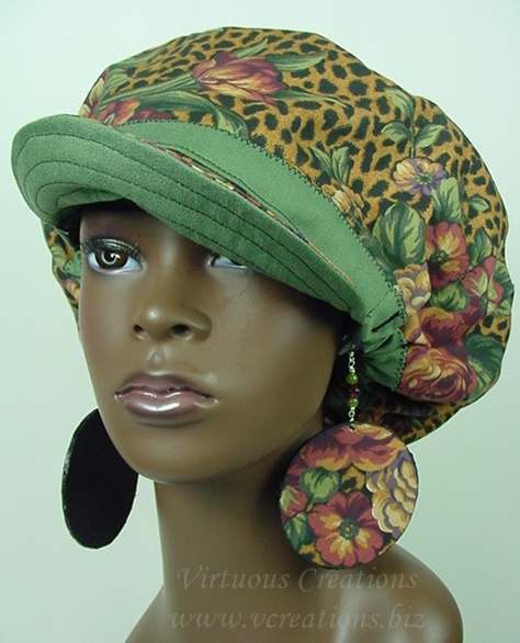 Billed Hat - Animal Print Floral with Green