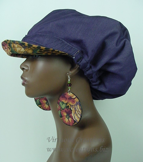 Billed Hat - Animal Print Floral with Purple