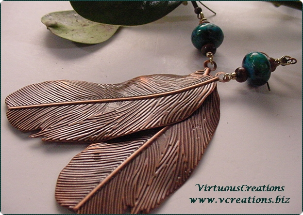 Earrings-Feathers-Bronze Metal with Chrysocolla