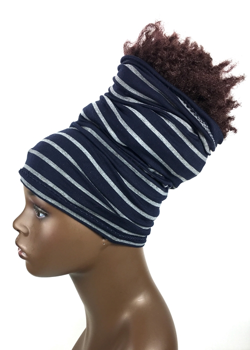 Striped-Navy Blue & Gray
