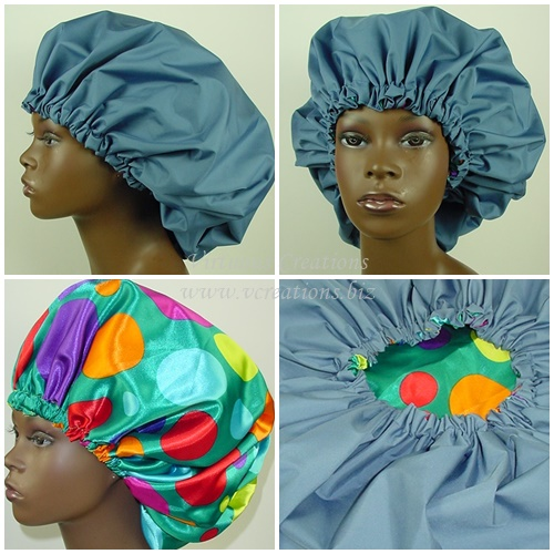 Extra Large Shower Cap (Blue) 2 In 1 Satin Lined Jumbo Conditioning Cap