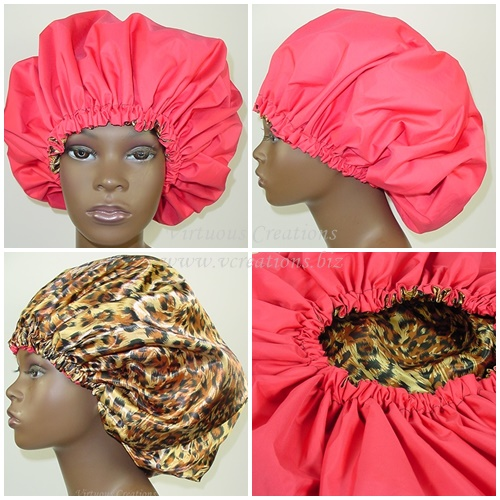 Extra Large Shower Cap (Red) 2 In 1 Satin Lined Jumbo Conditioning Cap