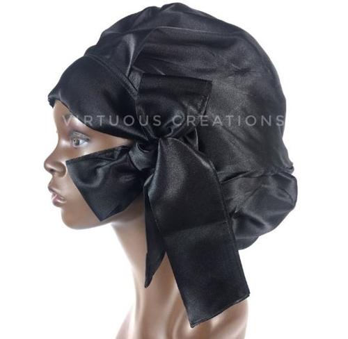 Satin Bonnet (Black-Unisex-Hers) Satin Sleep Bonnet