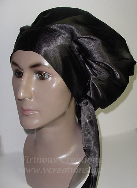 Satin Sleep Cap - Satin Bonnet (Black-Unisex - His) Sleep Cap - Satin Sleep Bonnet