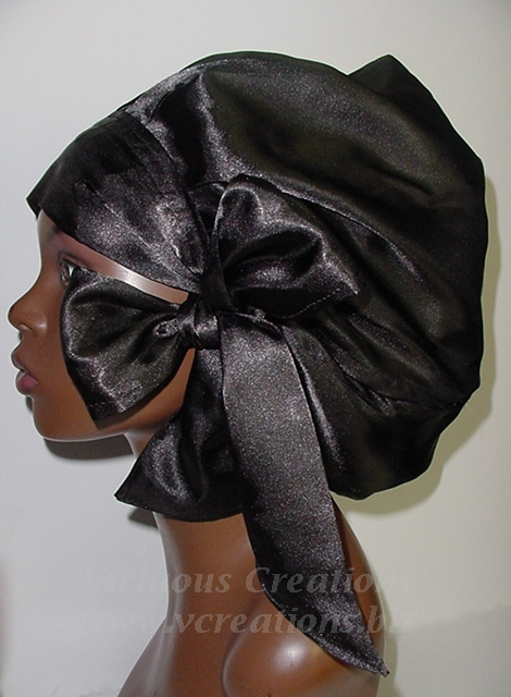 Satin Sleep Cap - Satin Bonnet (Black-Unisex-Hers) Sleep Cap - Satin Sleep Bonnet