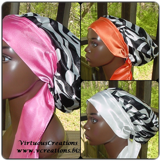 Satin Sleep Cap - Sleep Bonnet (Zebra-Black & White) Sleep Cap - Satin Sleep Bonnet