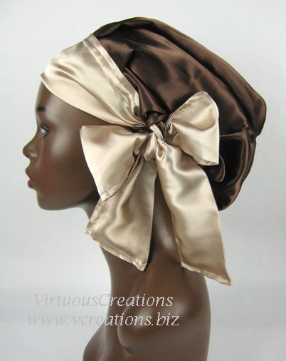 Satin Sleep Cap - Satin Bonnet (Brown and Tan) Sleep Cap - Satin Sleep Bonnet