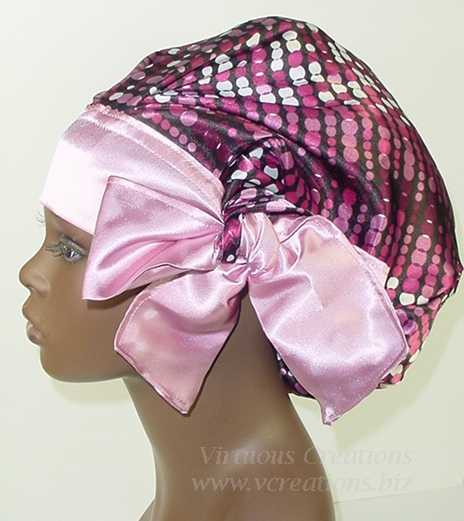 Satin Sleep Cap - Satin Bonnet (Polka Dots-Burgundy and Pink) Sleep Cap - Satin Sleep Bonnet