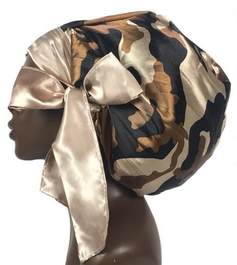 Satin Bonnet (Camouflage Brown) Satin Sleep Bonnet
