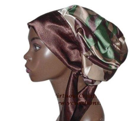 Satin Bonnet, Single Layered (Camouflage Green) Satin Sleep Bonnet