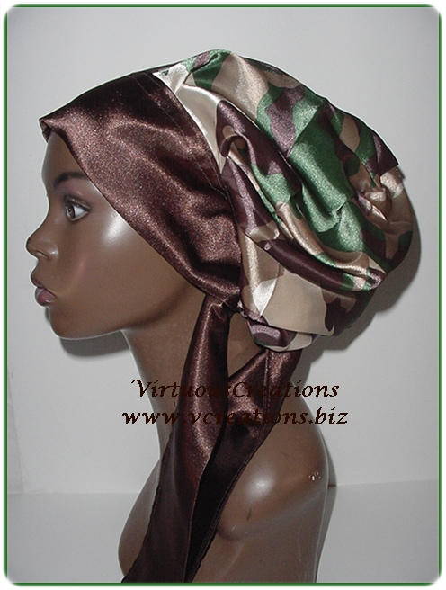 Satin Sleep Cap - Satin Bonnet (Camouflage Green) Sleep Cap - Satin Sleep Bonnet