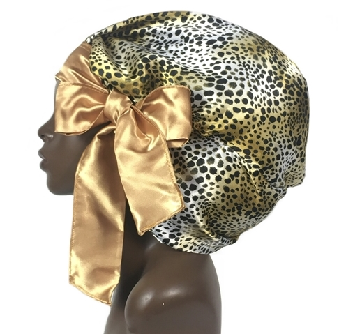 Satin Bonnet, Single Layered (Cheetah -1) Satin Sleep Bonnet