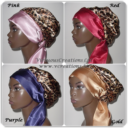 Satin Sleep Cap - Satin Bonnet (Cheetah Print-Variety) Sleep Cap - Satin Sleep Bonnet