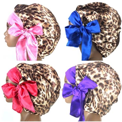 Satin Bonnet (Cheetah/Taupe) Satin Sleep Bonnet