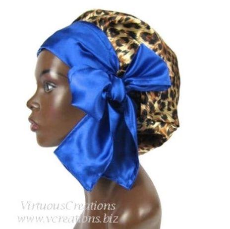 Satin Bonnet (Cheetah and Sapphire Blue) Satin Sleep Bonnet