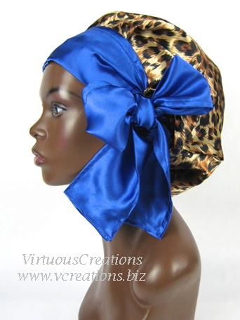 Satin Sleep Cap - Satin Bonnet (Cheetah and Sapphire Blue) Sleep Cap - Satin Sleep Bonnet
