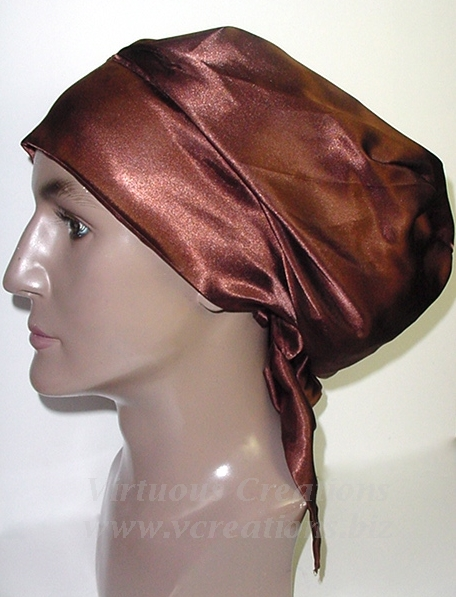 Satin Sleep Cap - Satin Bonnet (Brown-Unisex-His) Sleep Cap - Satin Sleep Bonnet