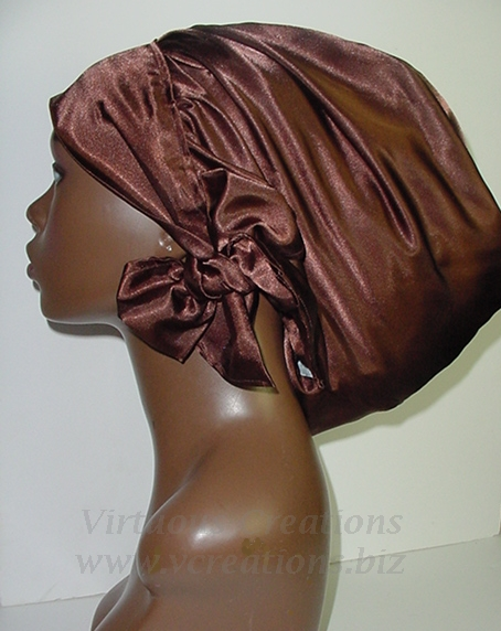 Satin Sleep Cap - Satin Bonnet (Brown-Unisex-Hers) Sleep Cap - Satin Sleep Bonnet