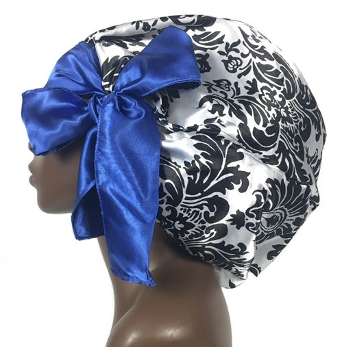 Satin Bonnet, Single Layered, (Damask-Silver and Black with Red), Satin Sleep Bonnet