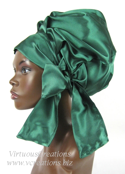 Satin Sleep Cap - Satin Bonnet (Emerald Green) Sleep Cap - Satin Sleep Bonnet