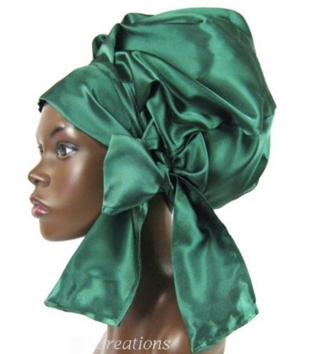 Satin Bonnet (Emerald Green) Satin Sleep Bonnet
