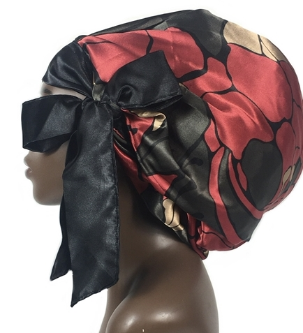 Satin Bonnet (Floral-Burgundy/Black/Tan) Satin Sleep Bonnet