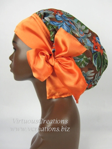 Satin Sleep Cap - Satin Bonnet (Floral-Tropical Print with Orange) Sleep Cap - Satin Sleep Bonnet