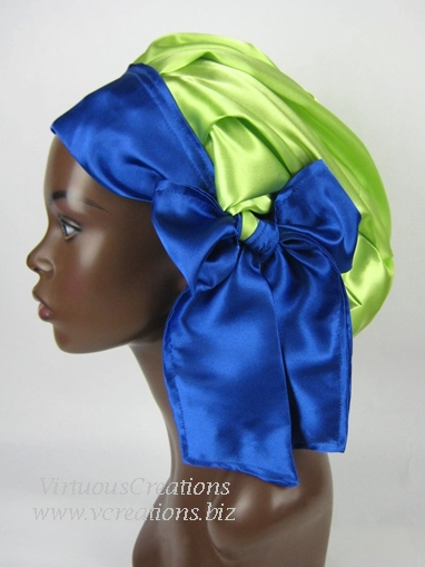Satin Sleep Cap - Satin Bonnet (Lime Green with Sapphire Blue) Sleep Cap - Satin Sleep Bonnet