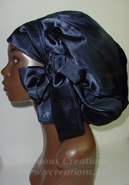 Satin Sleep Cap - Satin Bonnet (Navy Blue-Unisex-Hers) Sleep Cap - Satin Sleep Bonnet