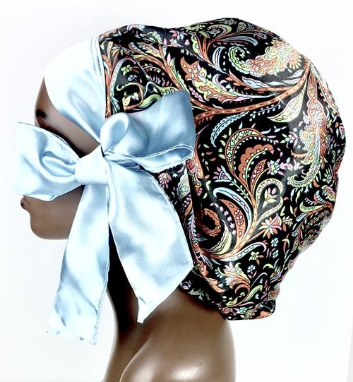 Satin Bonnet (Paisley-Black) Satin Sleep Bonnet