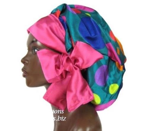 Satin Bonnet, Single Layered, (Polka Dots-Multi Colored Teal Green), Satin Sleep Bonnet