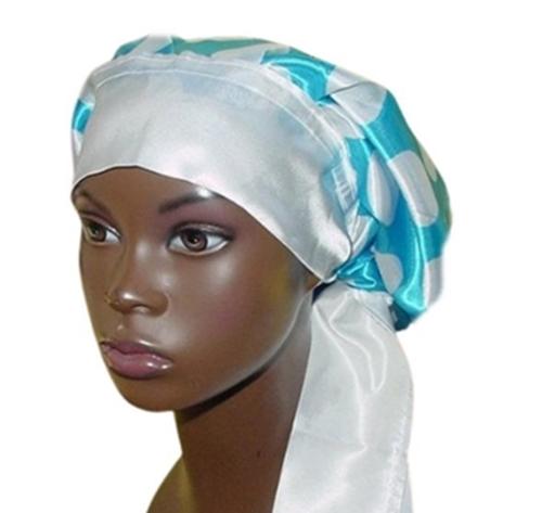 Satin Bonnet, Single Layered, (Polka Dots-Blue with White), Satin Sleep Bonnet