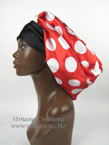 Satin Sleep Cap - Satin Bonnet (Polka Dots-Red and White) Sleep Cap - Satin Sleep Bonnet- Cap