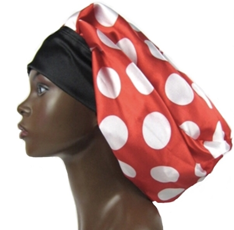 Satin Bonnet (Polka Dots-Red with White) Satin Sleep Bonnet