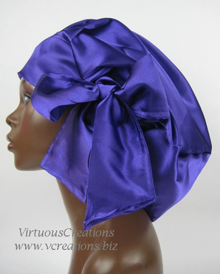Sweet Sleep Satin Slumber Cap-Bonnet- Purple