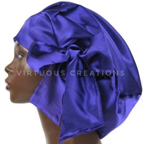 Satin Bonnet (Purple) Satin Sleep Bonnet