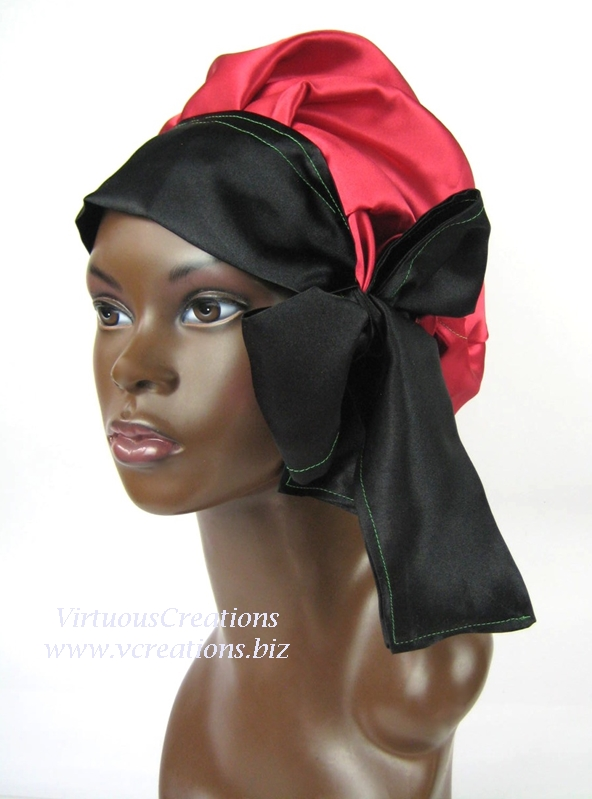 Satin Sleep Cap - Satin Bonnet (Red, Black and Green - RBG) - Sleep Cap - Satin Sleep Bonnet