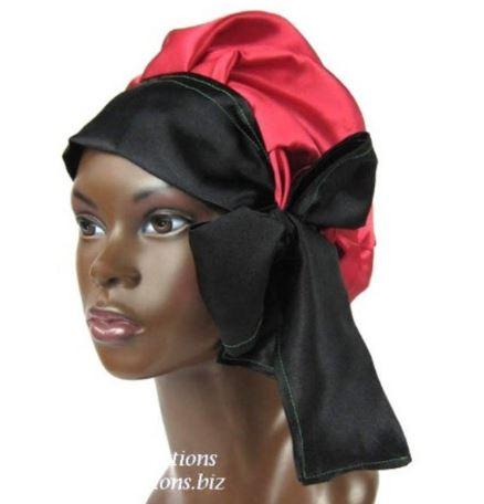Satin Bonnet (Red, Black and Green - RBG) Satin Sleep Bonnet