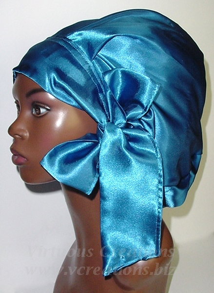 Satin Sleep Cap - Satin Bonnet (Sapphire Blue) Sleep Cap - Satin Sleep Bonnet