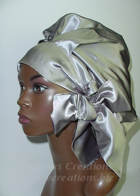 Satin Sleep Cap - Satin Bonnet (Silver-Unisex-Hers) Sleep Cap - Satin Sleep Bonnet