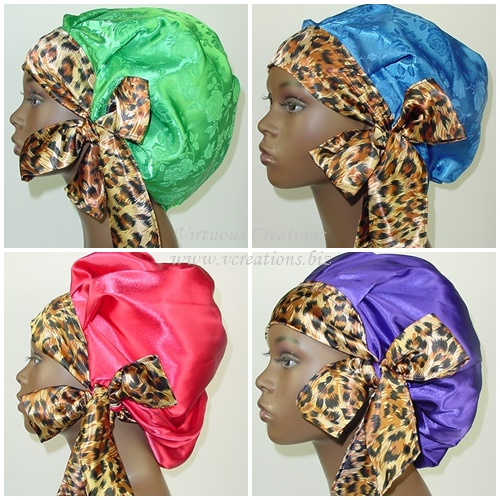 Satin Sleep Cap - Satin Bonnet  (Variety With Cheetah) Satin Sleep Bonnet