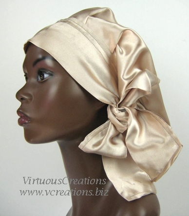 Satin Sleep Cap - Satin Bonnet (Taupe-Tan- Sleep Cap) Satin Sleep Bonnet