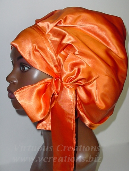 Satin Sleep Cap - Satin Bonnet (Tangerine-Orange - Sleep Cap) Satin Sleep Bonnet